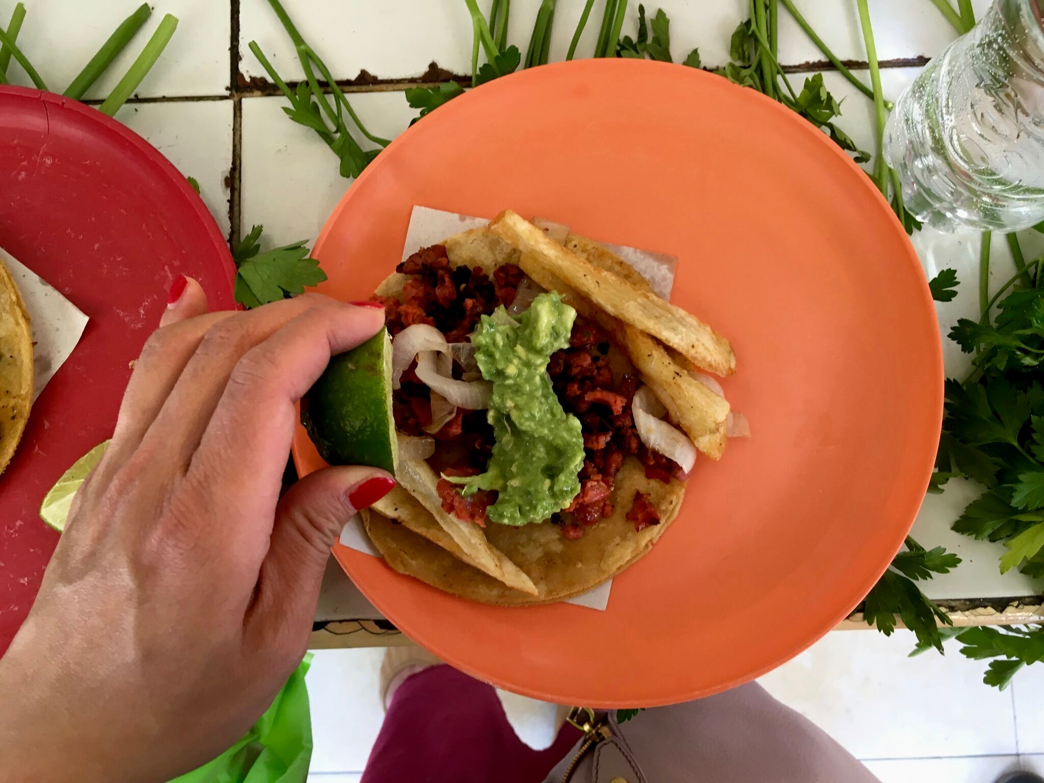 Taco de longaniza in Mexico City