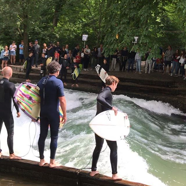 Gave a talk and TU München and got to see the famed river surf wave in the English Garden! #philosurfer