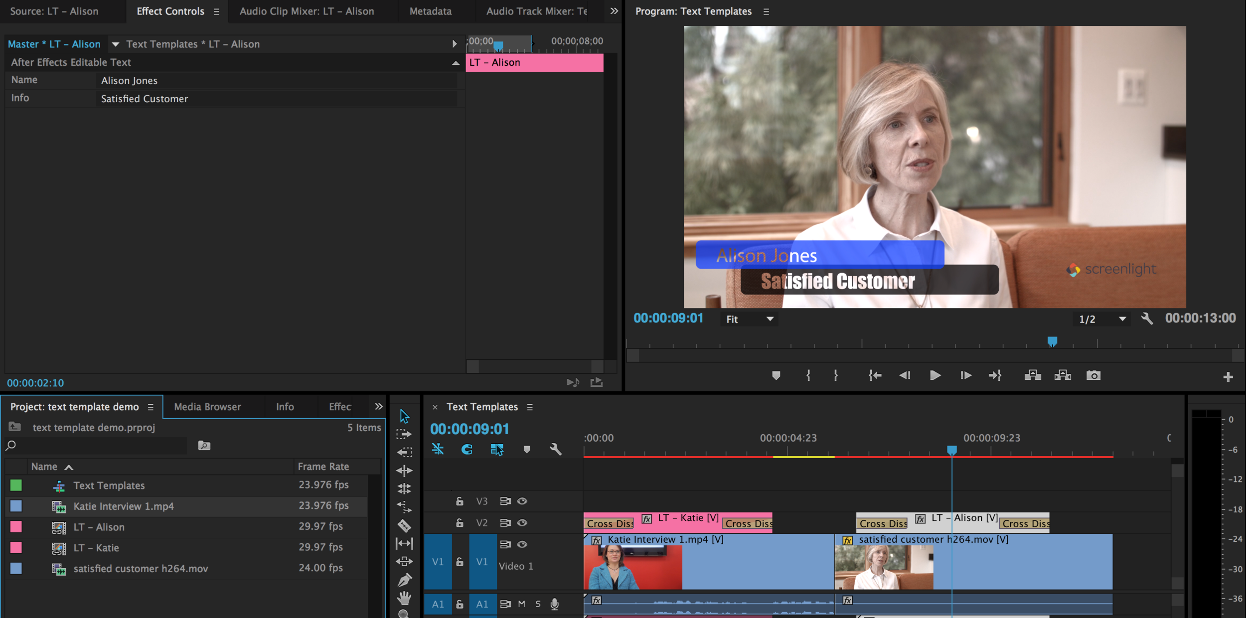 Creating After Effects Text Templates For Premiere Pro