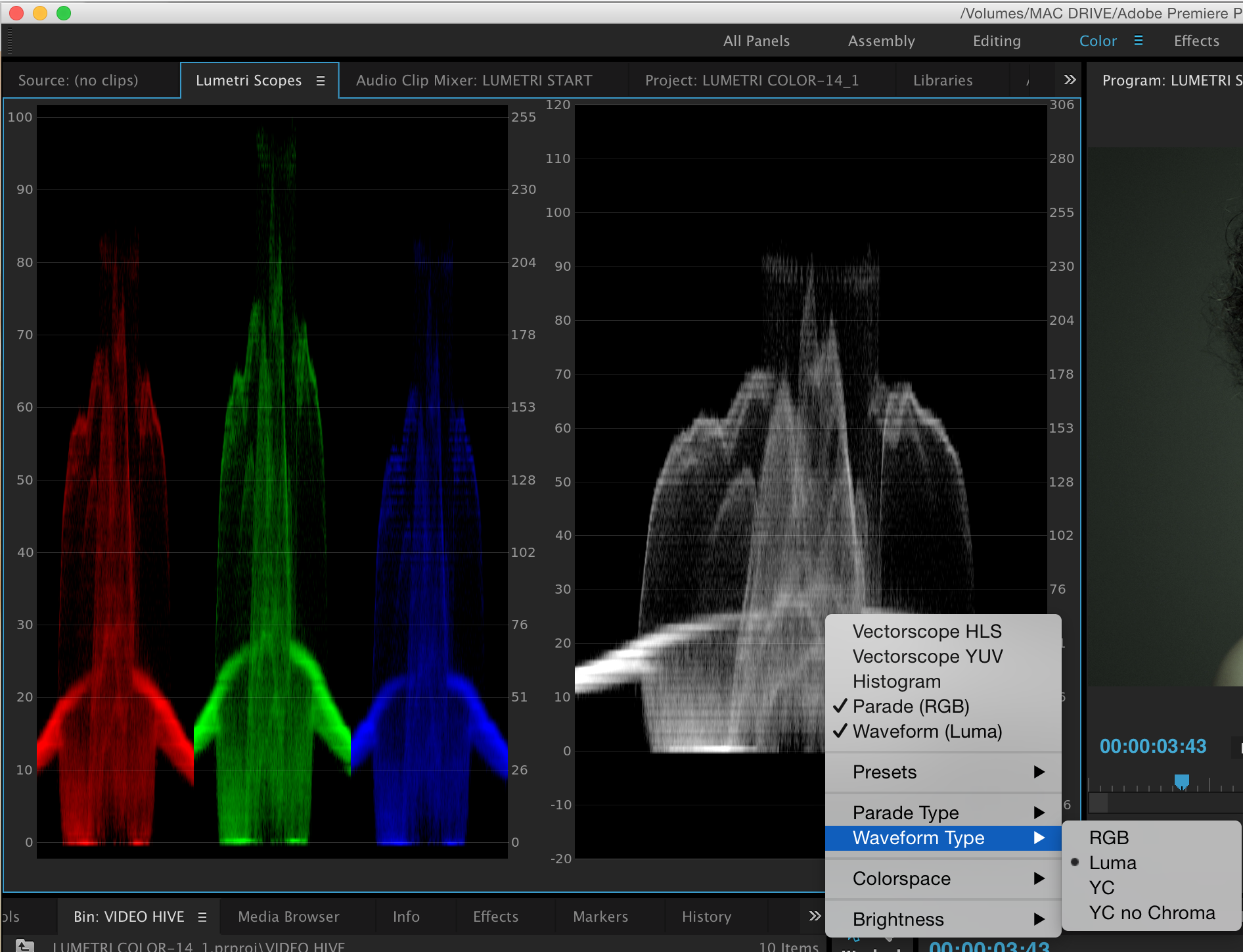 Changing waveform scopes type on right to Luma by ctrl-clicking on scope.