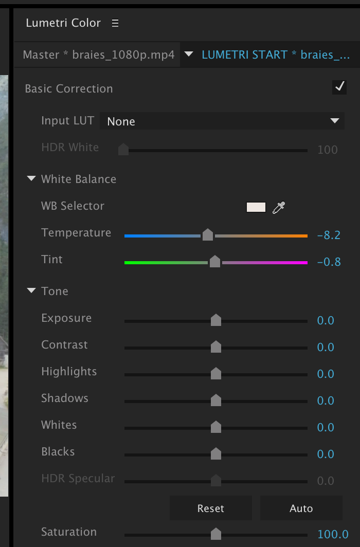 Sliders are changed from default values. Lumetri Effect added to clip playhead is over in the timeline.