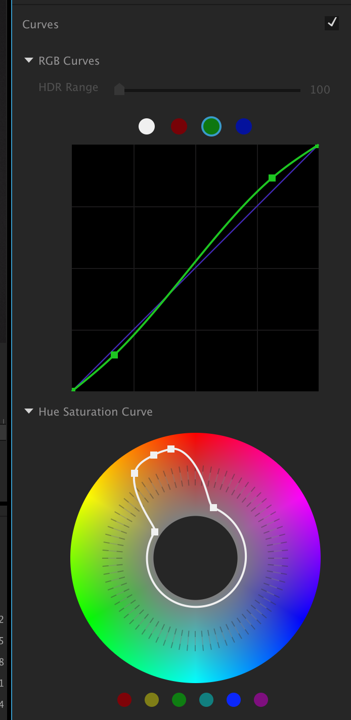 An example where an adjustment has been made to the green curve and the saturation has been increased in yellow, orange and a bit of red but decreased in the rest of the image.