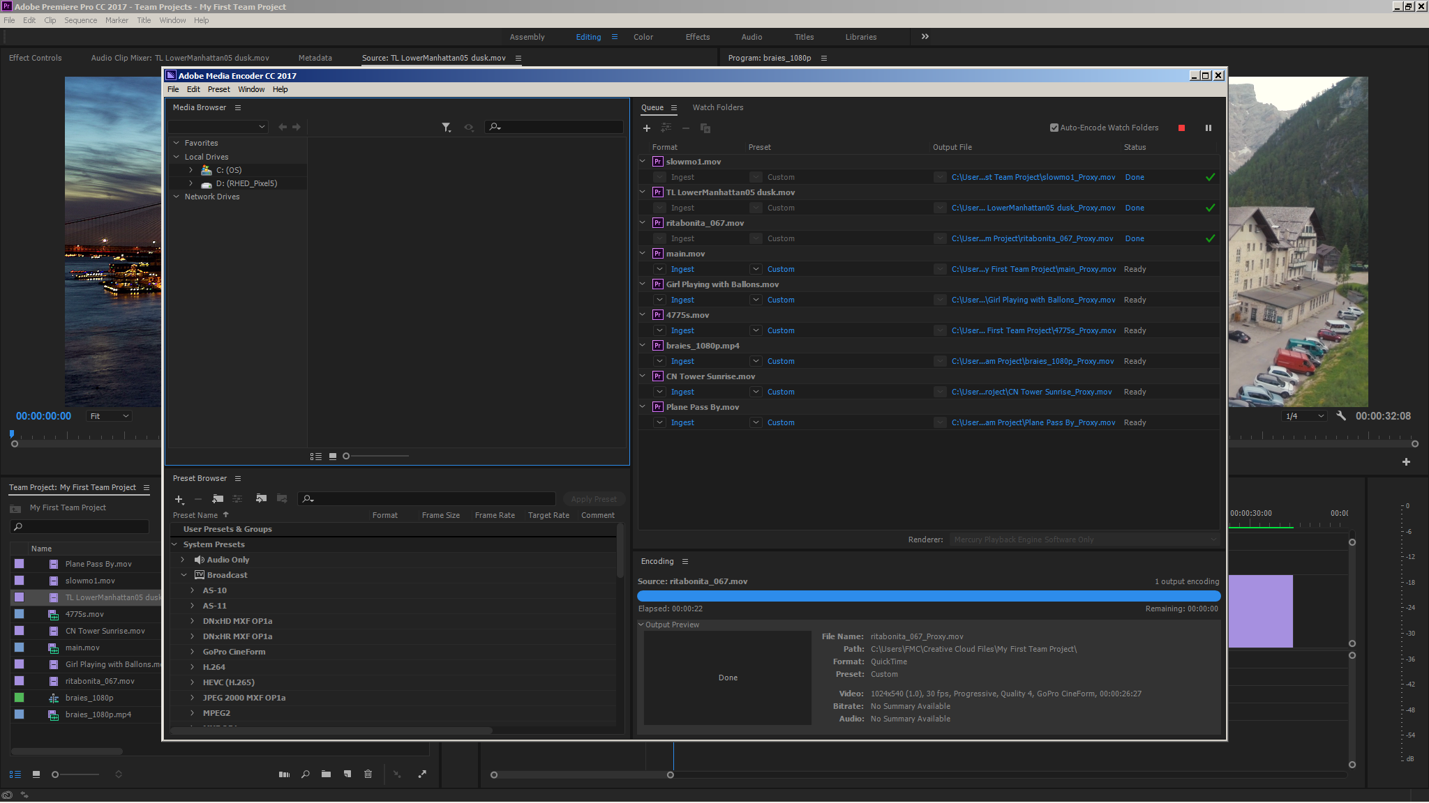 Media Encoder creating proxies in the background based on the current ingest setting for the Team Project.