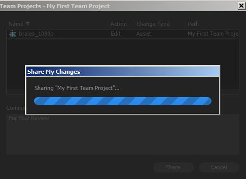 The changes to a Team Project being synced to the cloud.