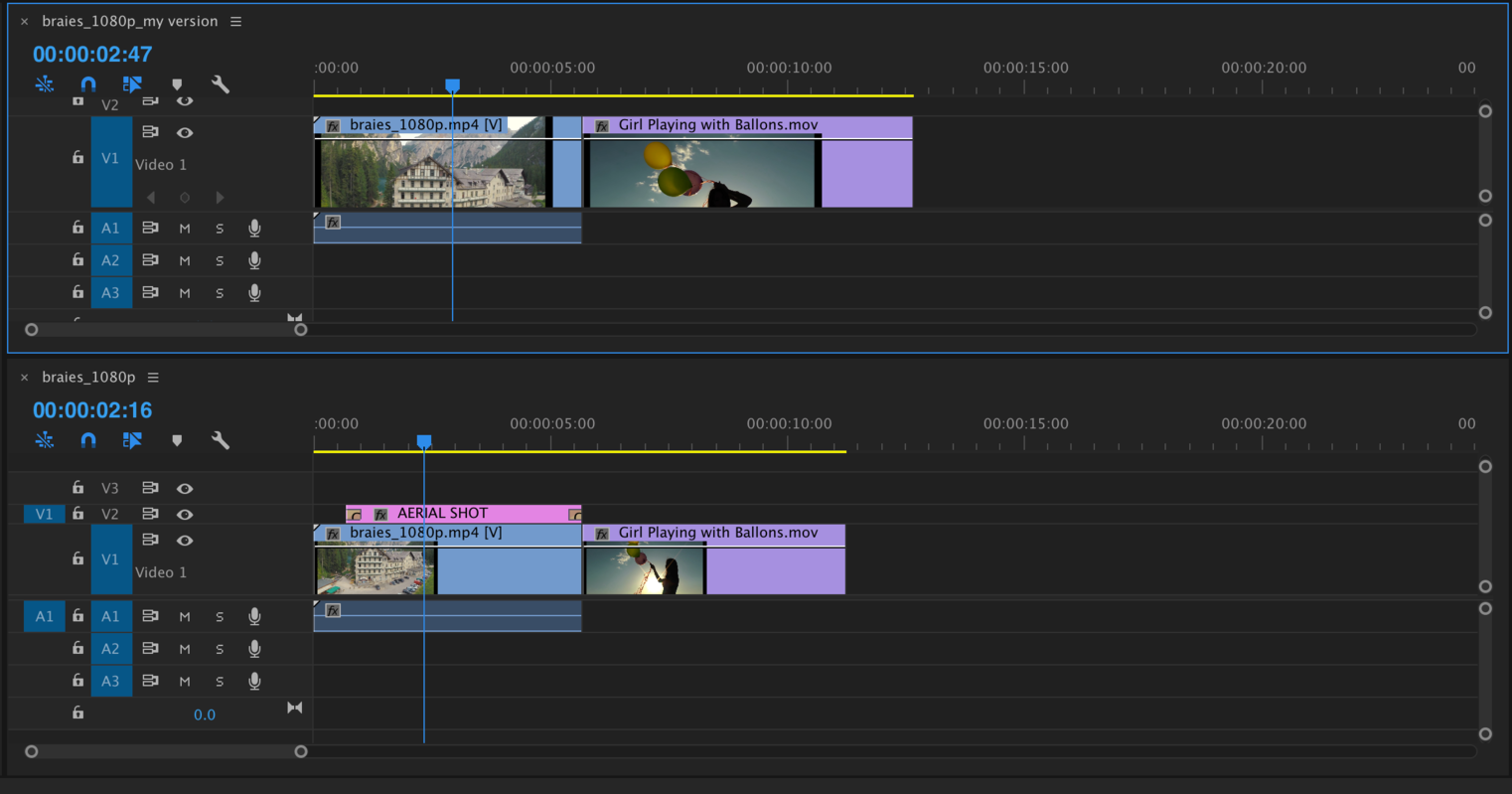 A timeline that compares two sequences after choosing copy and rename your version in the resolve conflicts window.