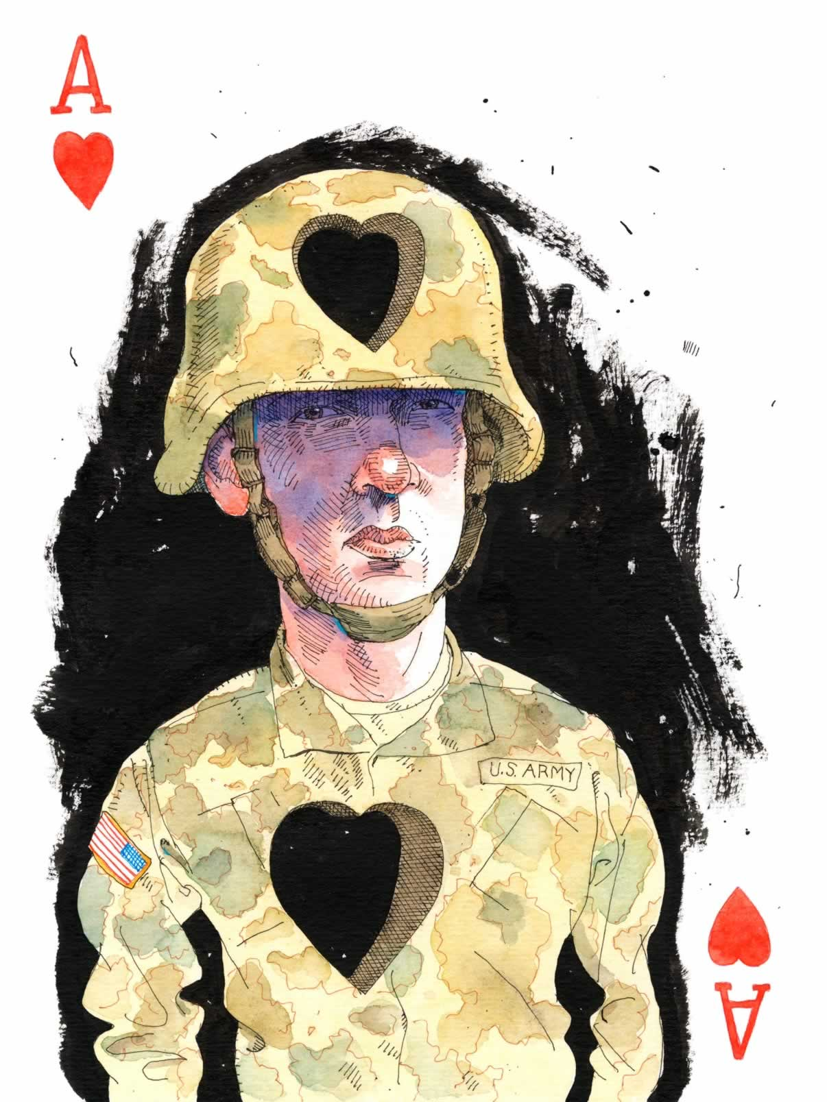"Playing card ""Ace of Hearts"" from  52 Reasons to Love a Vet  illustrated by Joe Ciardiello"