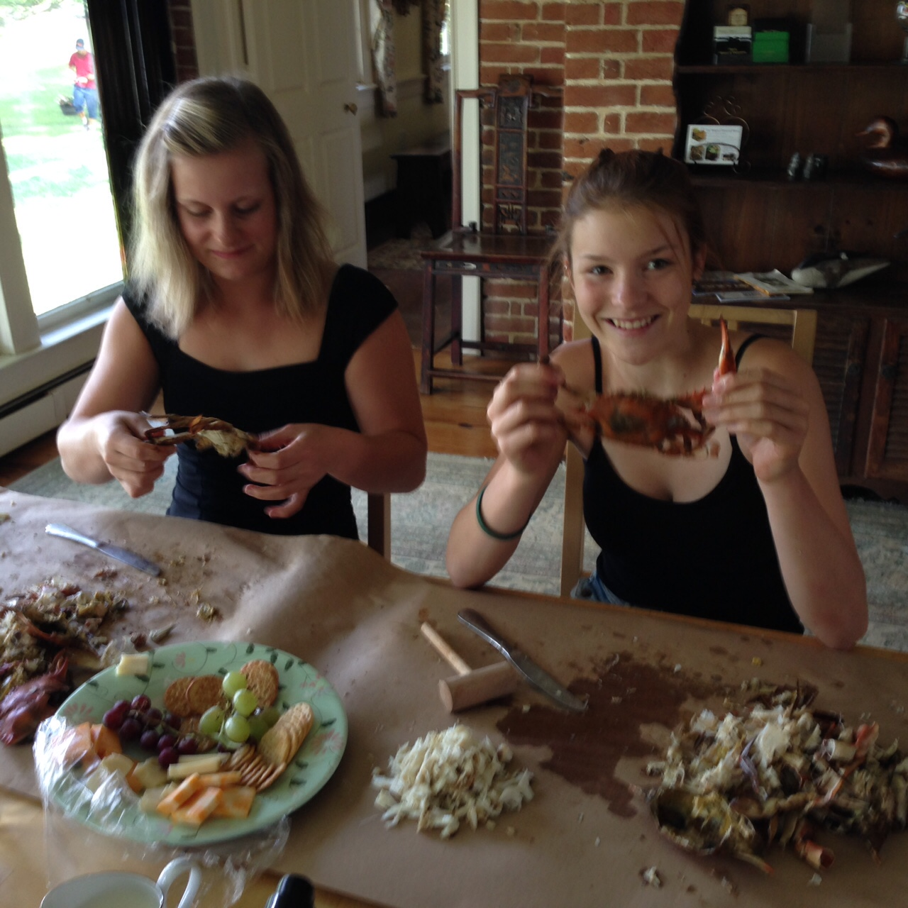 Sabine and me eating our first crabs.