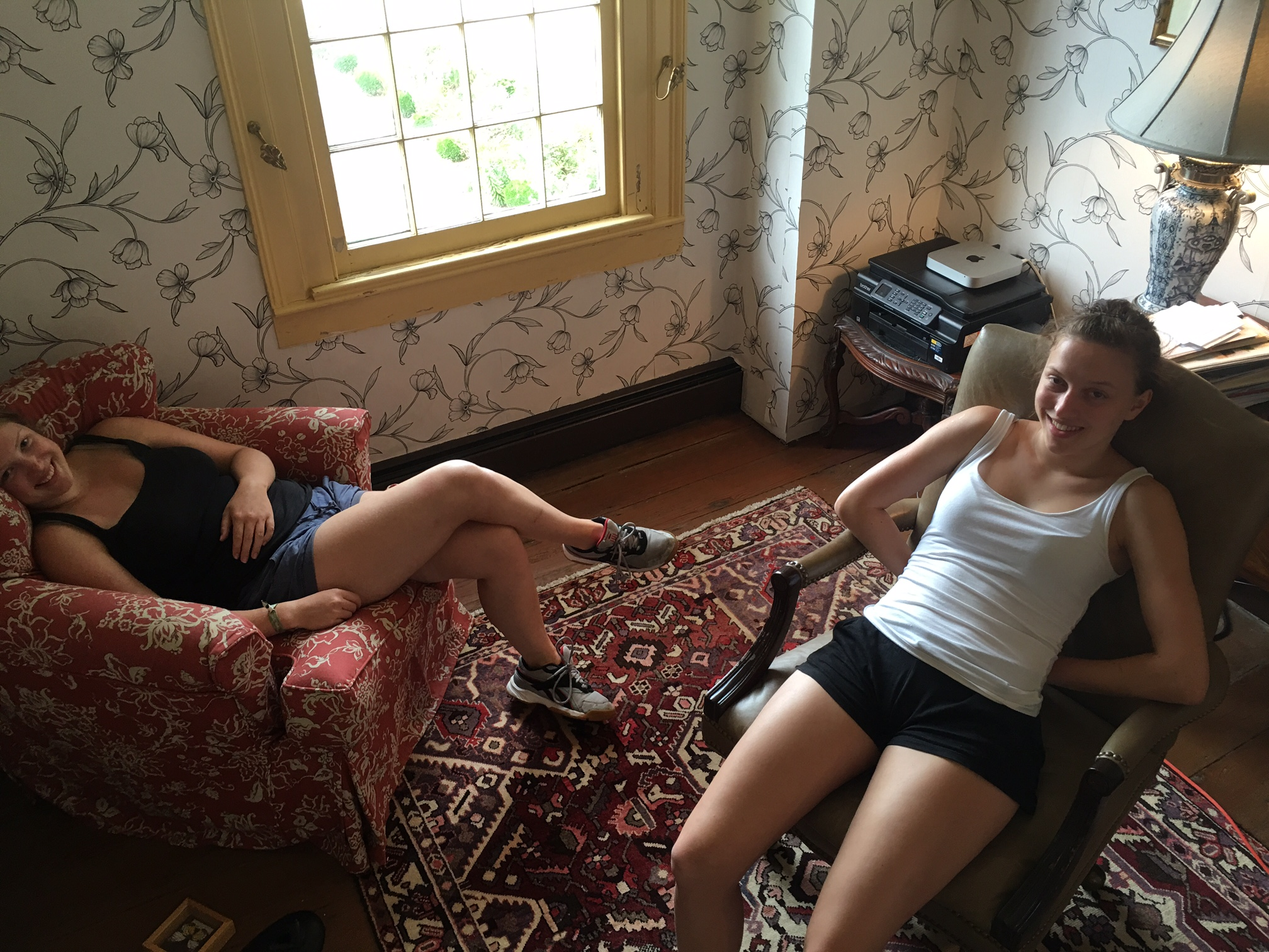 Two tired Woodlawn Farm interns. Here they are in full motion:
