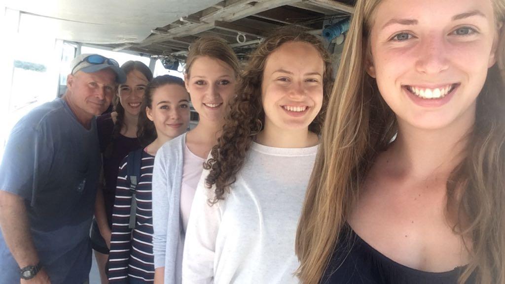A Slack Team selfie including Captain Phil Langley, Lisa, Jana, TIna, Monika and Verena.