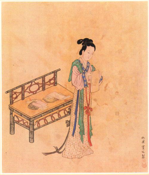 Xue Tao's portrait by  Qiu Ying .