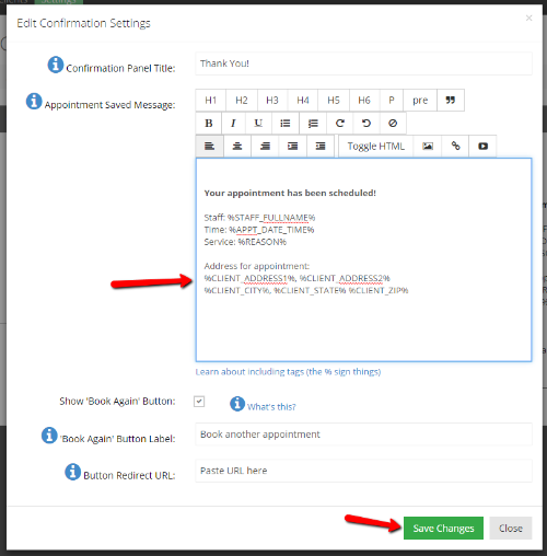 "Add the email tags for your client's information and click ""Save Changes"""