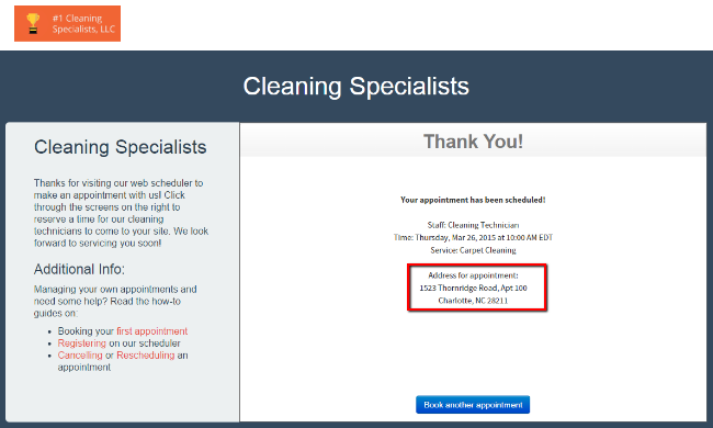 Test your web scheduling and see your client's address