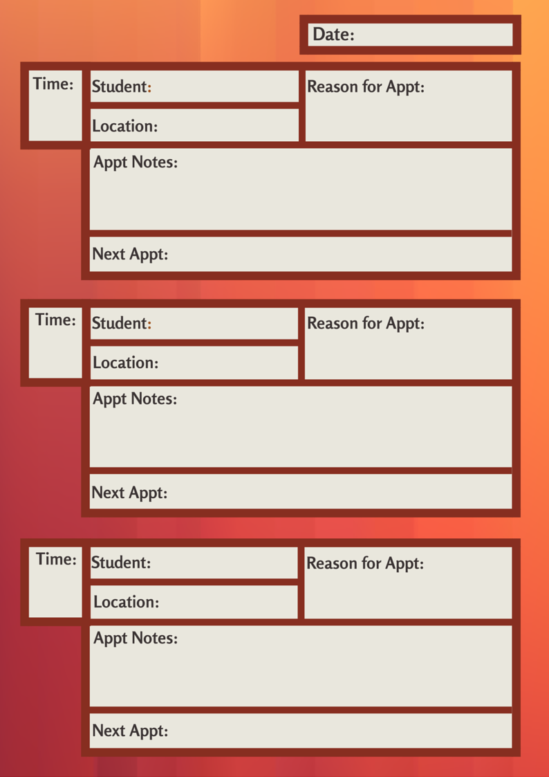 An appointment template customized for Guidance Counselors