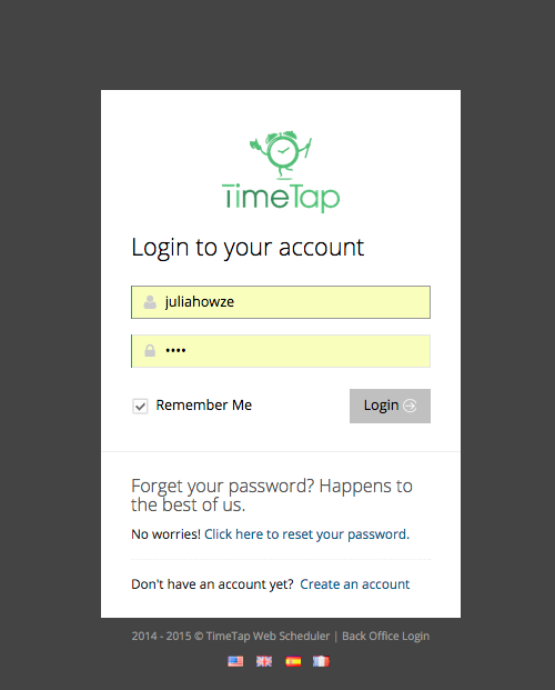 Log in to your TimeTap account