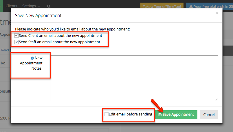"Edit options for sending emails & then click the ""Save Appointment"" button"