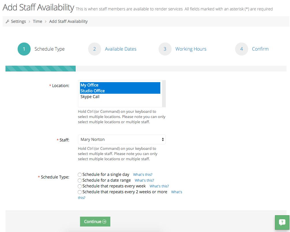 Adding staff availability