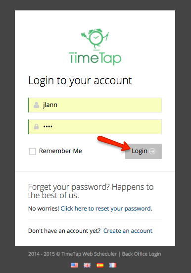 Log in to TimeTap's BackOffice