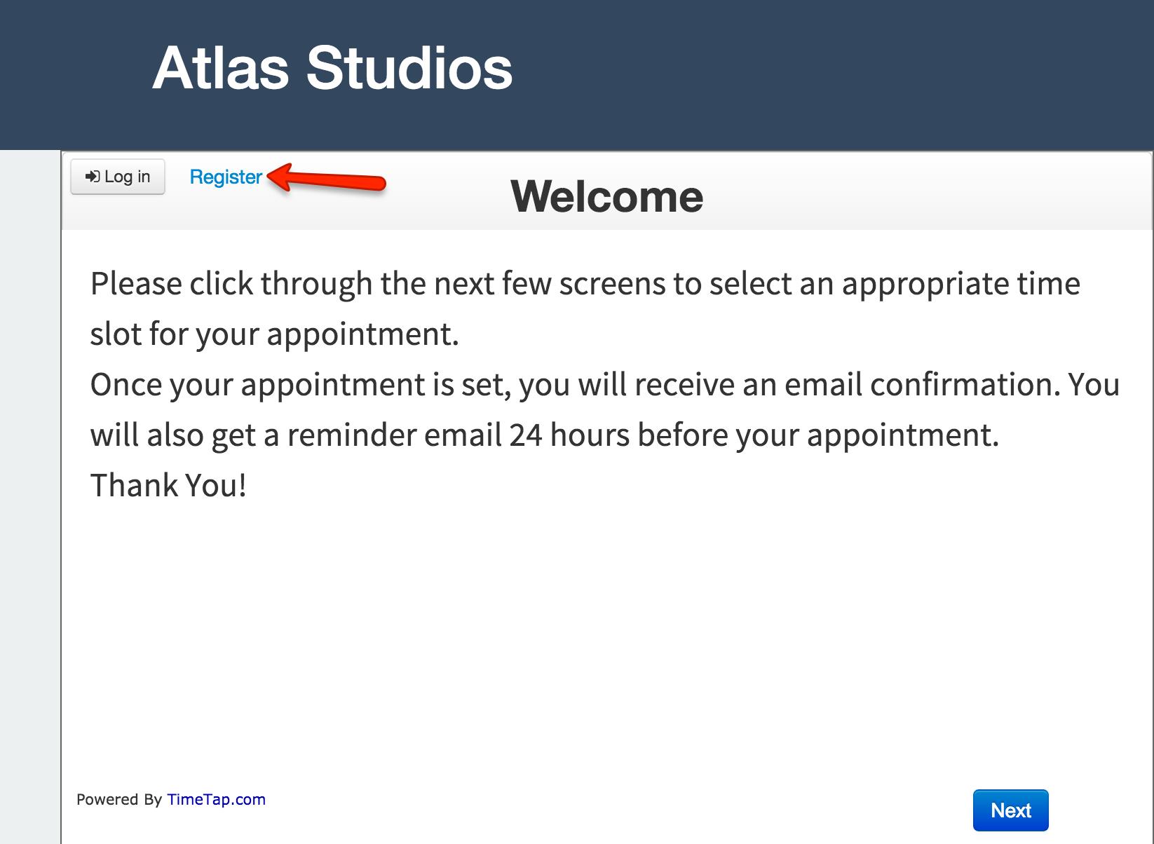 "Click on the ""Register"" link"