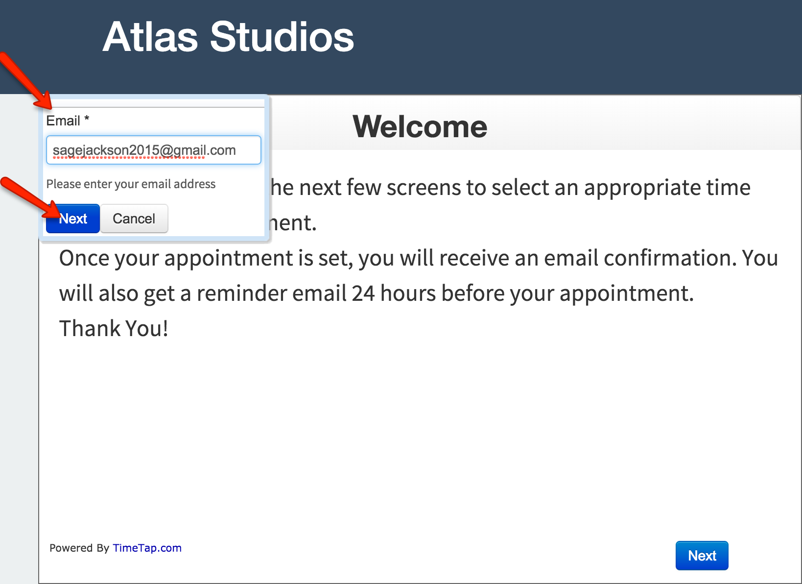 """Have clients enter in their email address and click """"Next"""""""
