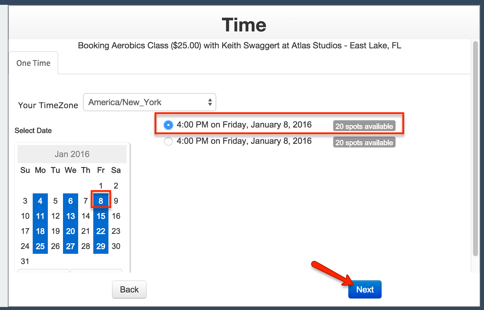 """Choose the date and time--then click """"Next"""""""