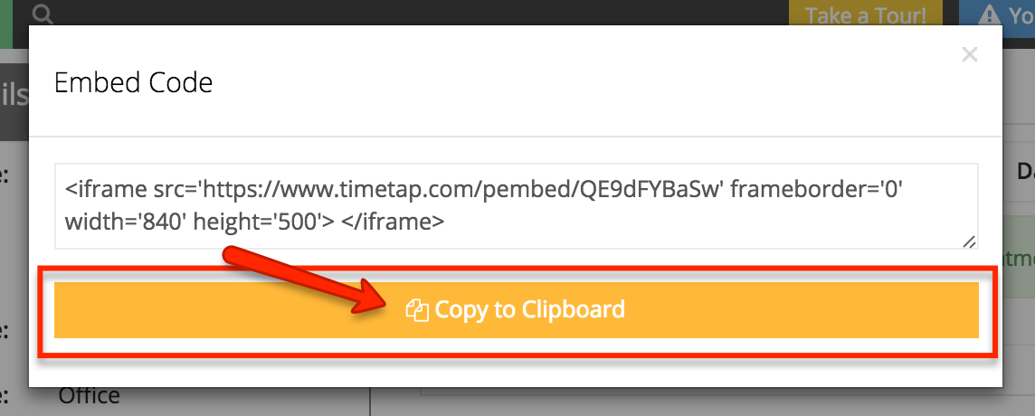 "Click the ""Copy to Clipboard"" button to copy the embed code"