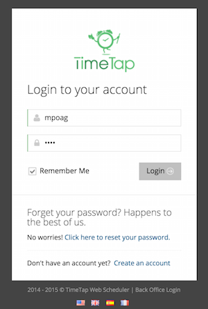 First, log in to TimeTap's BackOffice