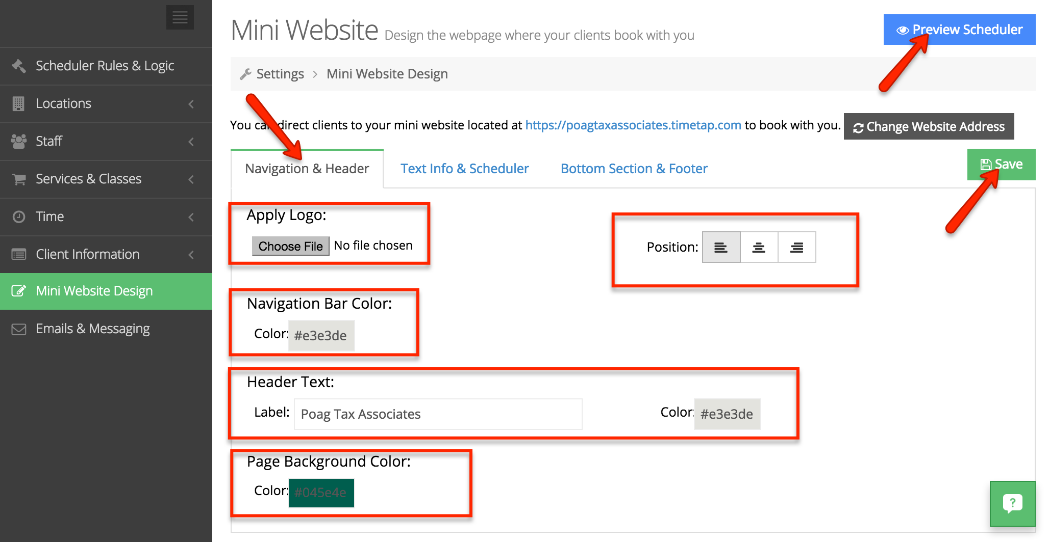"""Choose from several customizations options under the """"Navigation & Header"""" section"""