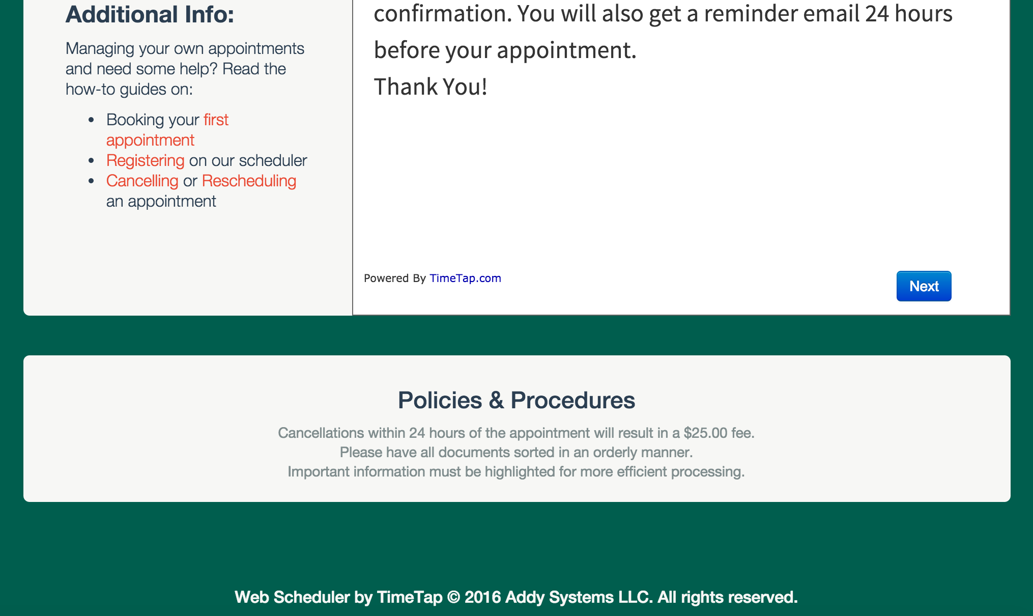 Finished customization of the Poag Tax Associate's web scheduler