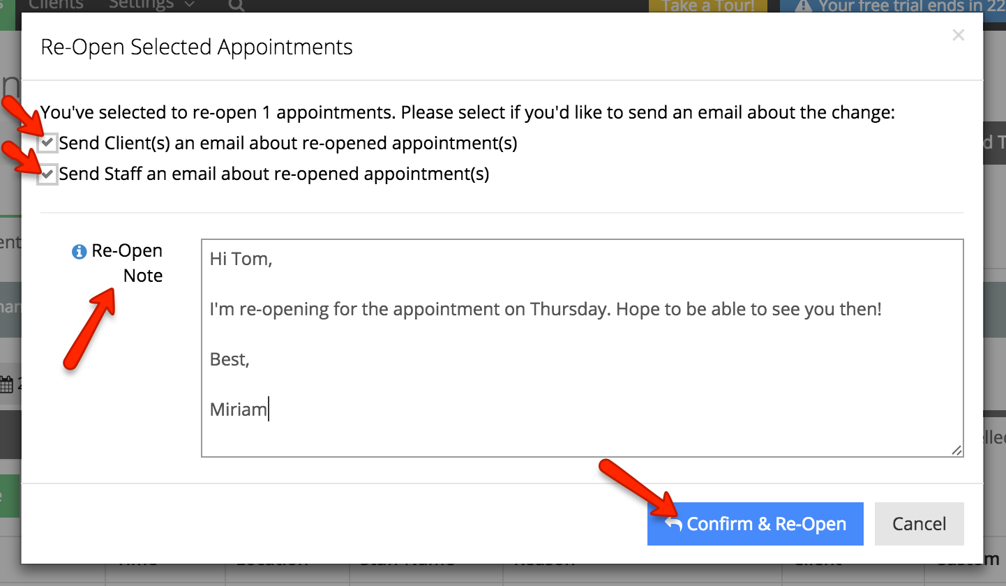 Optionally add a note about the change in status and send emails