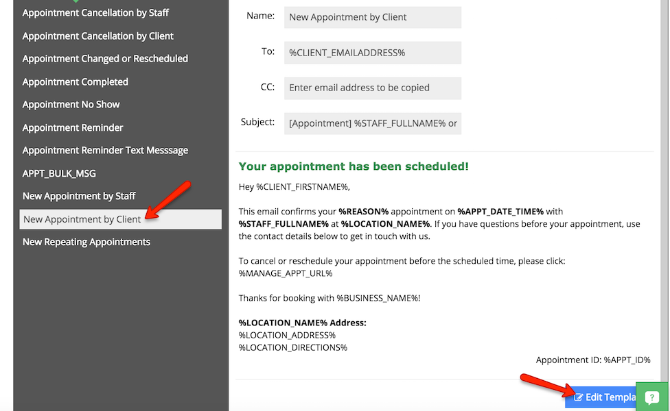 "Edit the ""New Appointment by Client"" email template"