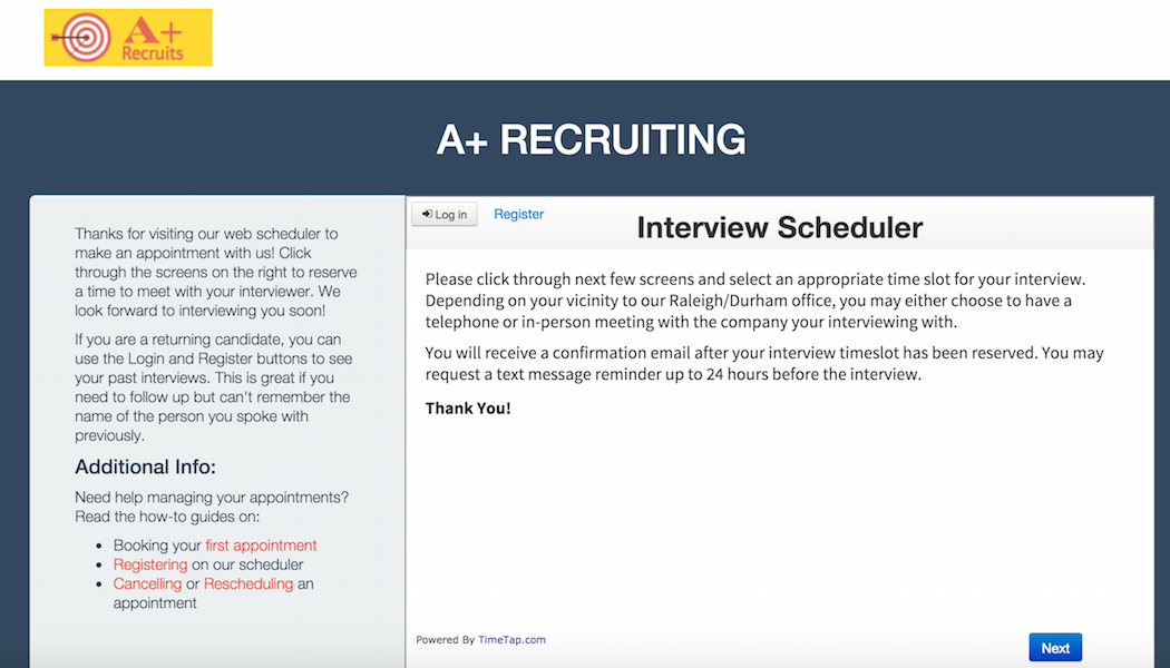 The Private URL takes candidates to your interview scheduler with the appropriate interview appointment