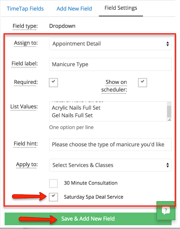 Add the details for the new service-specific custom field