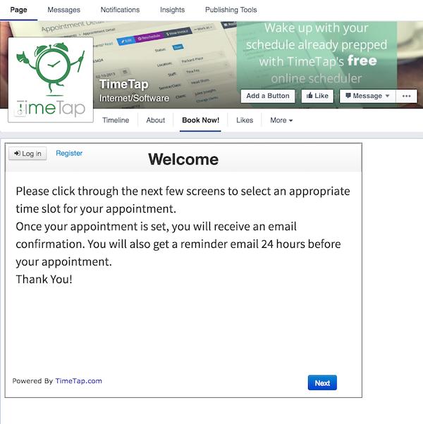 Add a Facebook appointment scheduler