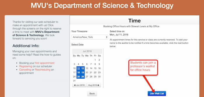 Allow clients to students to a join a waitlist
