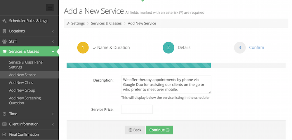 Setting up your service