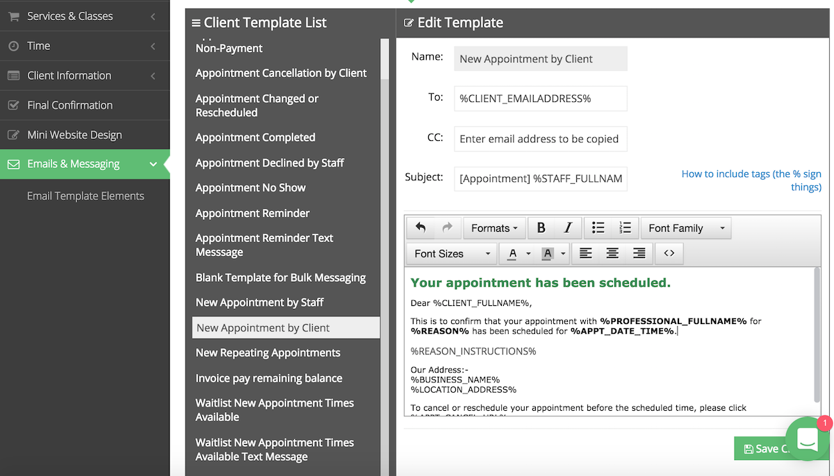 """Past the email tag for reason instructions in the """"New Appointment by Client"""" email template"""