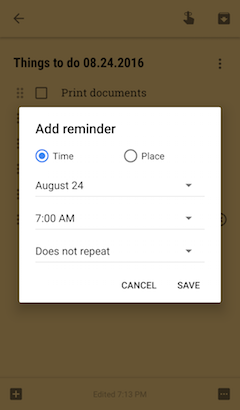 Setting a reminder for a specific time