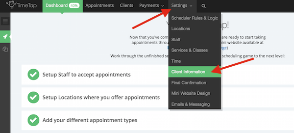 Go to Settings > Client Information