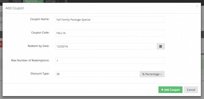 Create a coupon in TimeTap's Backoffice
