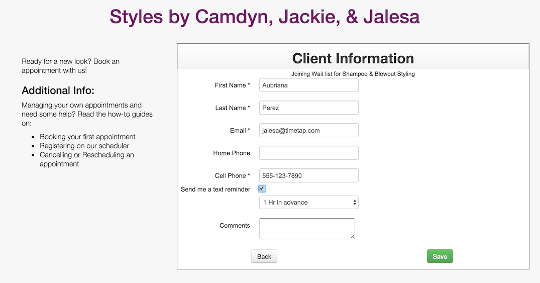 Filling in client information