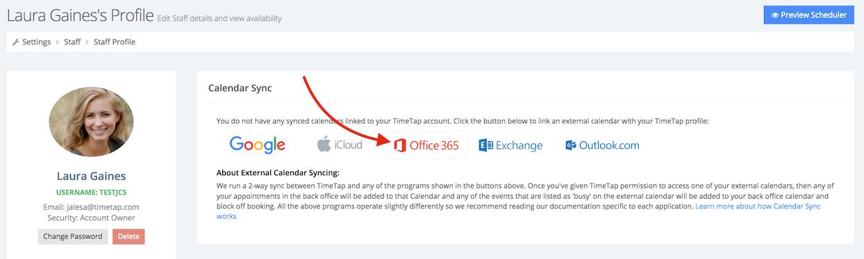 "Click on ""Office 365"" under the Calendar Sync tab"