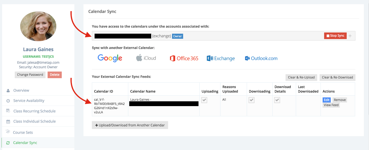 View your synced account and calendar