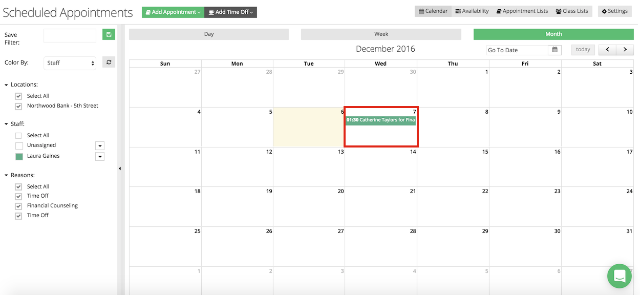 View the appointment on your TimeTap calendar