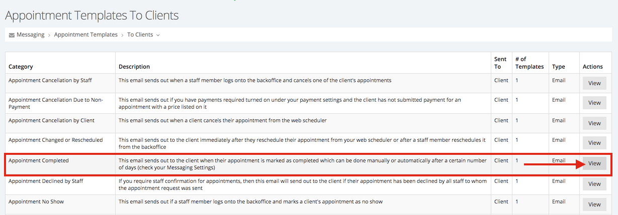 """View the """"Appointment Completed"""" template"""
