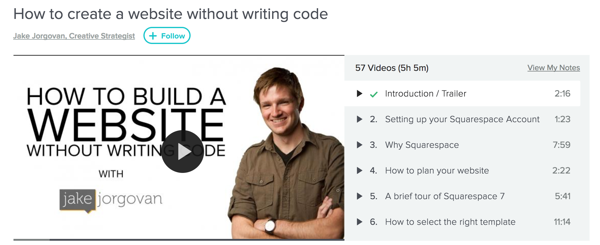 "Jake Jorgovan's ""How to Create a Website Without Writing Code"" Skillshare course"