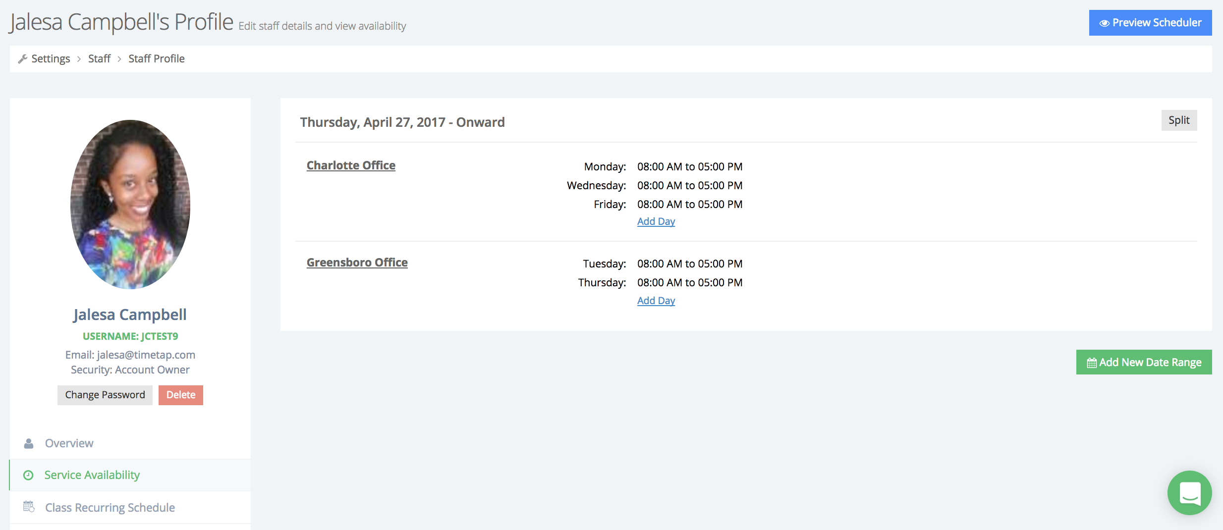 Set staff hours of availability by location for multiple offices