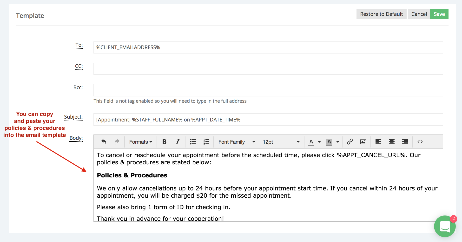 Add your guidelines to the new appointment email