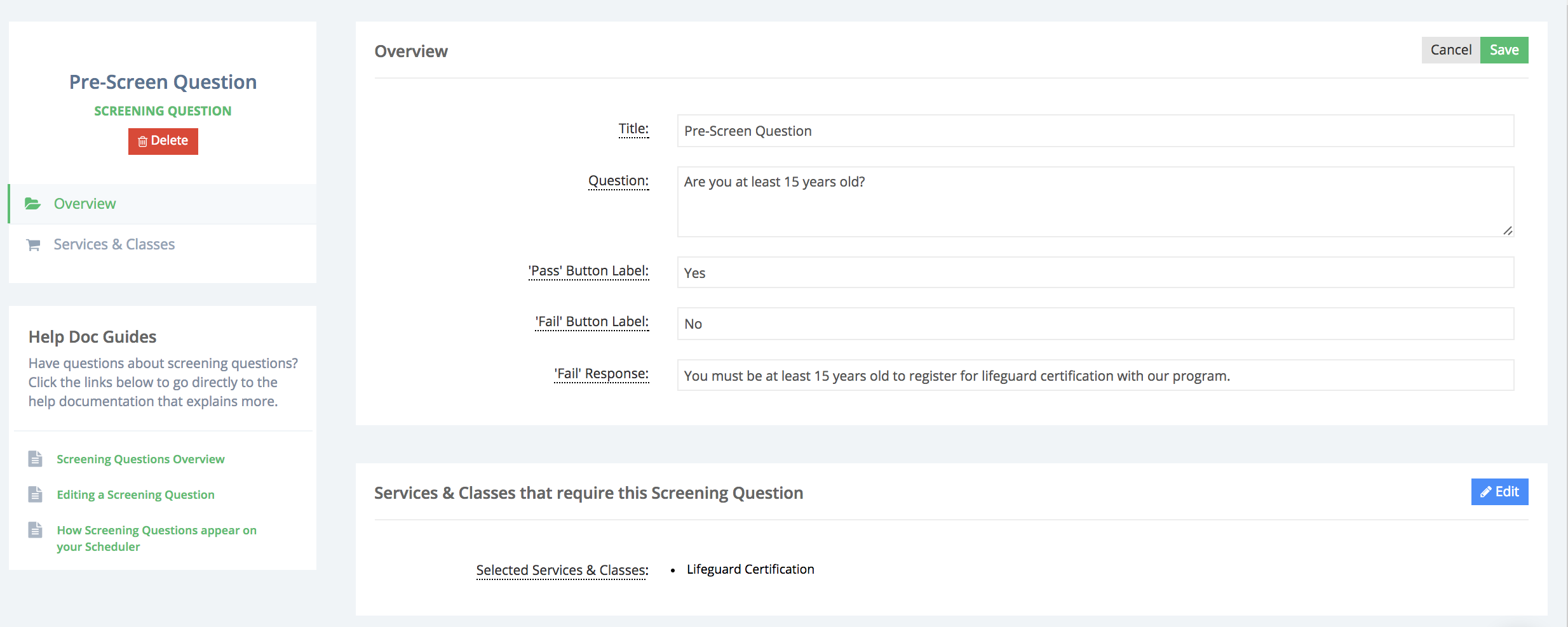 Creating a pre-screening question