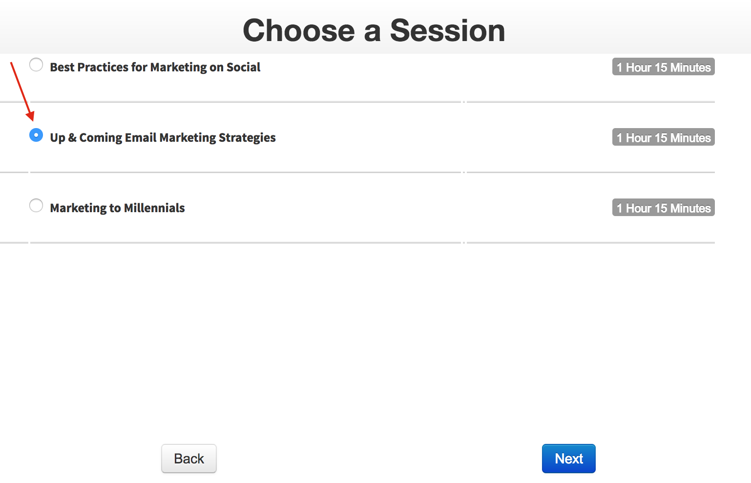 Conference attendees can select the session they want to join