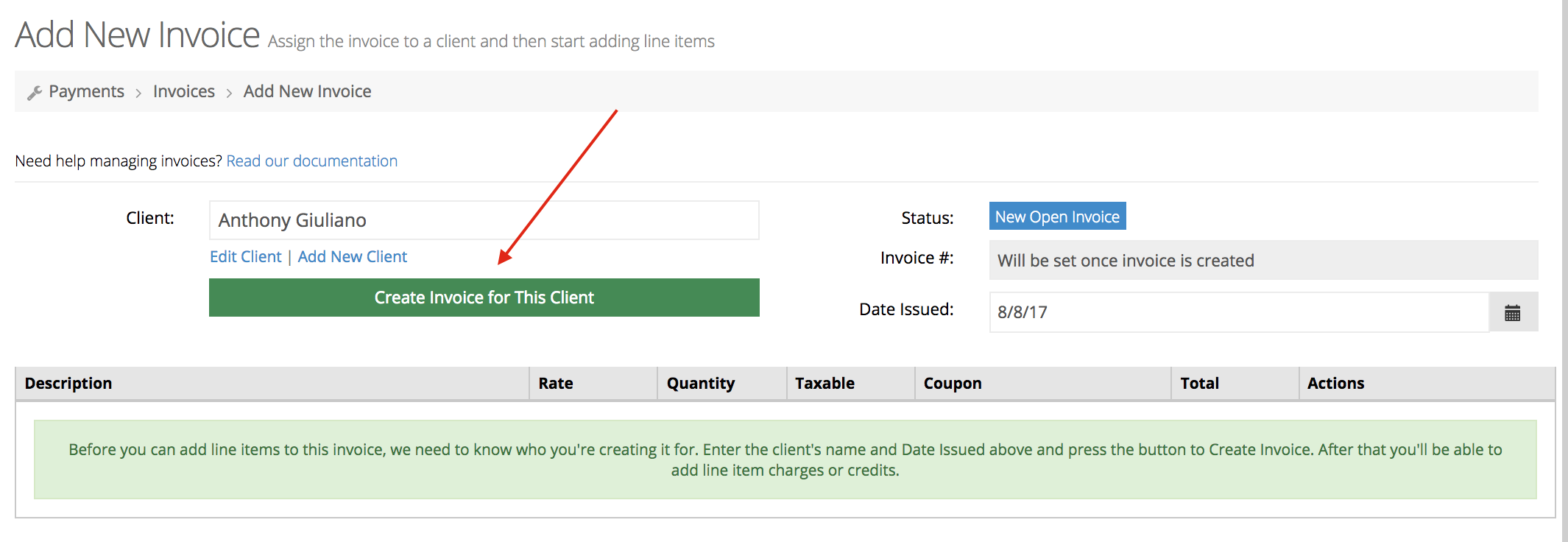 Create invoice for client